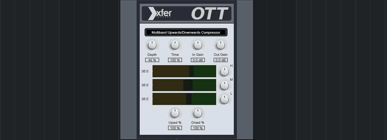 XFER RECORDS OTTはトラックメイカー・アレンジャー向け 積極的な音作りが得意なマルチバンドコンプ